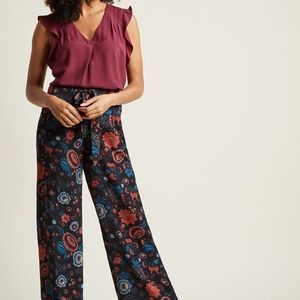 NWT Modcloth Pocketed Wide-Leg Pants in Blossom
